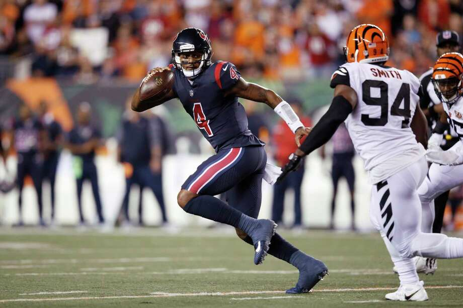 PHOTOS: Each NFL team's Color Rush uniform  The Texans wore their Color Rush uniforms in Deshaun Watson's first career start last year on Sept. 14, 2017 at Cincinnati. They plan to wear the uniform combo at home this season.  Browse through the photos above for a look at each NFL team's Color Rush uniform ... Photo: Joe Robbins, Contributor / 2017 Joe Robbins