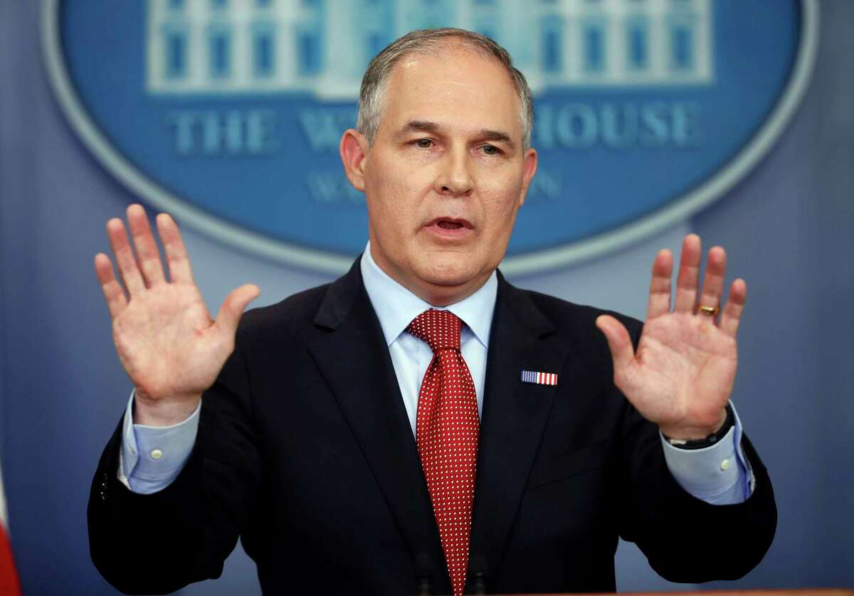 FILE - In this June 2, 2017, file photo, EPA Administrator Scott Pruitt speaks to the media in the Brady Press Briefing Room of the White House in Washington. Employees at the Environmental Protection Agency are attending mandatory training sessions this week to reinforce federal laws and rules against leaking government information. Training materials from the hour-long class were obtained by The Associated Press. (AP Photo/Pablo Martinez Monsivais, File) ORG XMIT: WX102