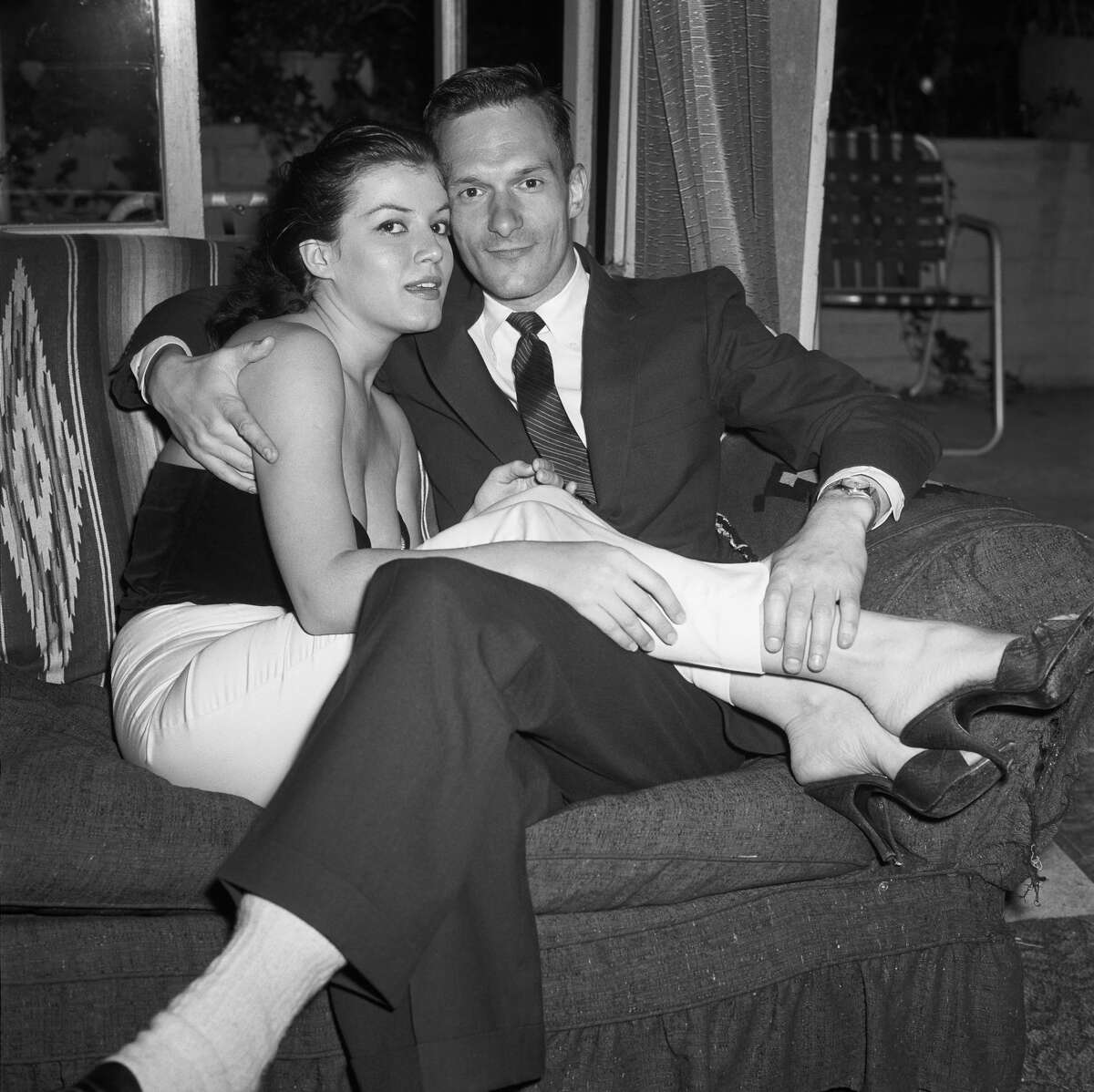 June 30, 1957, California, Hollywood, Hugh Hefner (with Joan Bardshaw) at a Playboy Party at the home of photographer Earl Leaf.