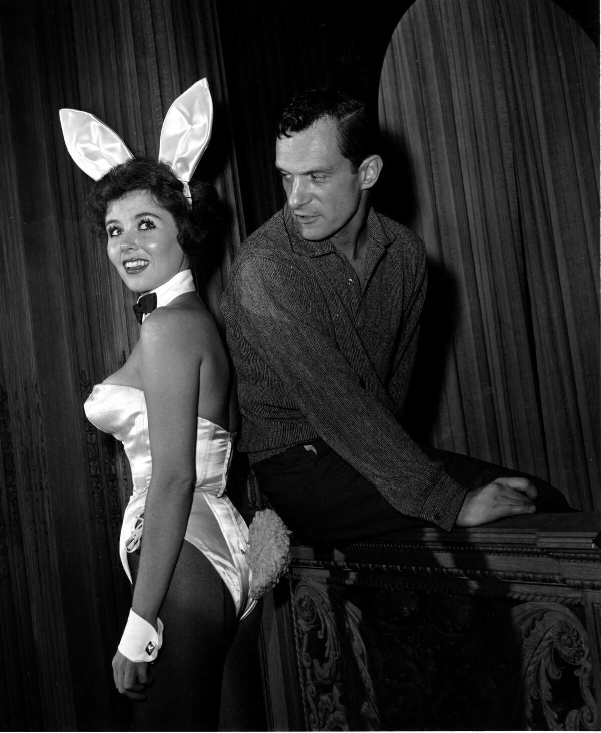 Playboy magazine publisher Hugh Hefner poses with