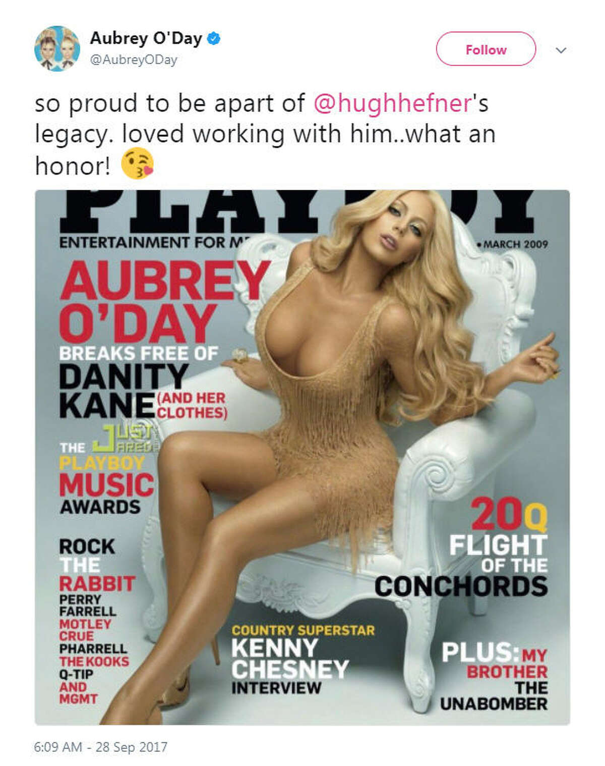 """""""so proud to be apart of @hughhefner's legacy. loved working with him..what an honor!"""