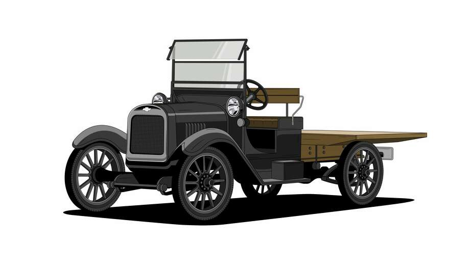 "1918 One-Ton – The first production truck from Chevrolet was inspired by vehicles used in plants to move parts and pieces from place to place. In the simplest terms, this is an example of ""form follows function."" It was a rolling chassis, featuring an open cab, an in-line, 4-cylinder engine and an open frame allowing customers to install the body that fit their unique needs. One striking design element is the beautiful badge, which was clearly a designed element of this truck. The font, the proportions and the dark blue, almost black color make a very sophisticated bow-tie, even by today's standards. Photo: Chevrolet"