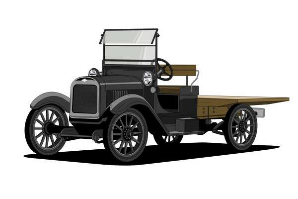"""1918 One-Ton – The first production truck from Chevrolet was inspired by vehicles used in plants to move parts and pieces from place to place. In the simplest terms, this is an example of """"form follows function."""" It was a rolling chassis, featuring an open cab, an inline 4-cylinder engine, and an open frame allowing customers to install the body that fit their unique needs. One striking design element is the beautiful badge, which was clearly a designed element of this truck. The font, the proportions and the dark blue, almost black color make a very sophisticated bowtie, even by today's standards."""