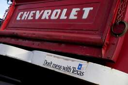 Chevrolet pick up truck tailgate parked in Amarillo Texas USA