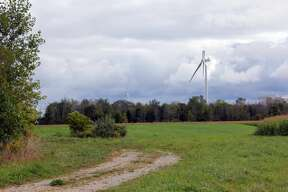 A wind turbine blade is damaged near the corner of Kinde and Huron City Roads near Lewisville. The wind park is owned by Algonquin Power of Ontario.