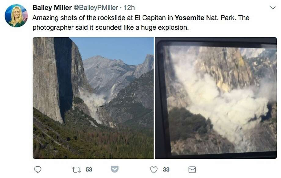 Photos of Wednesday's deadly rockslide on Yosemite's El Capitan were posted on social media. Photo: Twitter