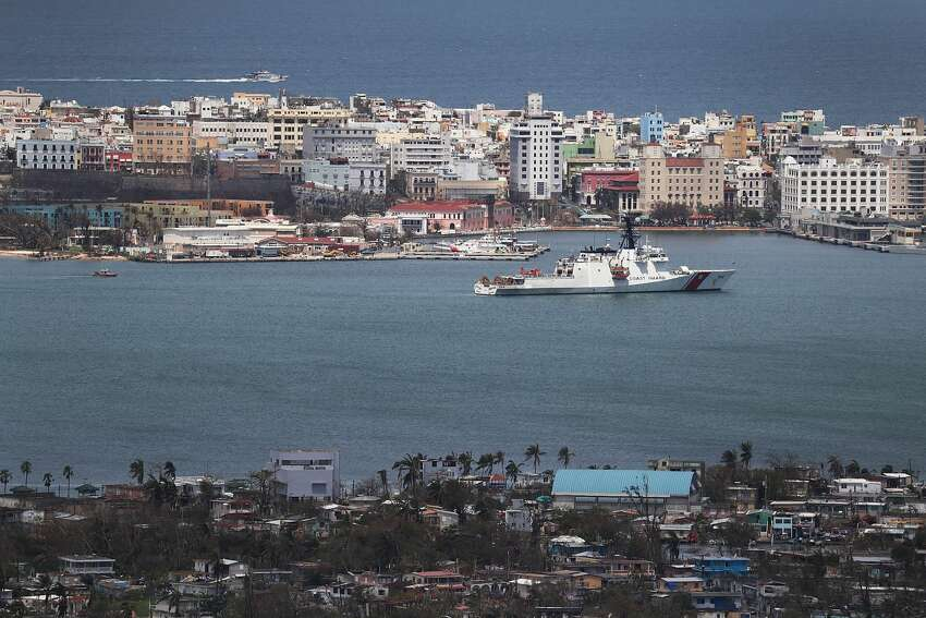 A U.S. Coast Guard cutter is seen in port as people deal with the aftermath of Hurricane Maria on September 25, 2017 in San Juan Puerto Rico. (Photo by Joe Raedle/Getty Images)
