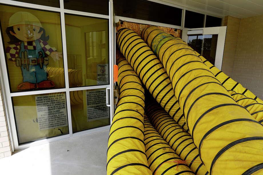 Drying equipment sits outside Mauriceville Elementary School on Wednesday.  Photo taken Wednesday 9/13/17 Ryan Pelham/The Enterprise Photo: Ryan Pelham / ©2017 The Beaumont Enterprise/Ryan Pelham