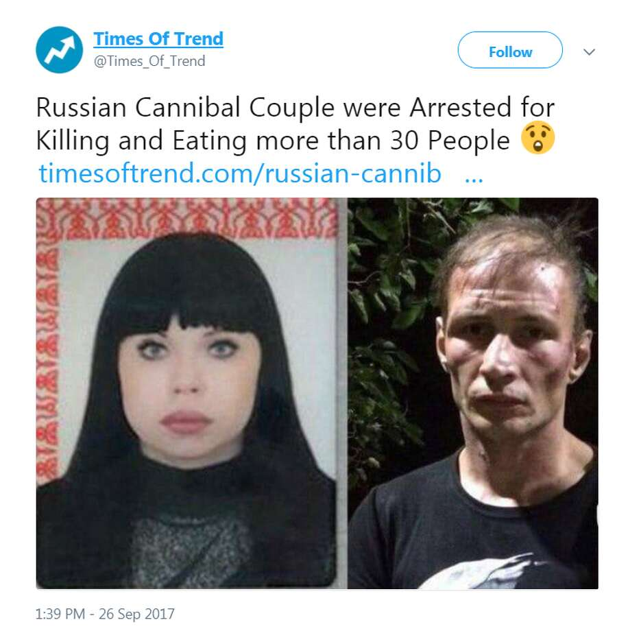 'Cannibal couple' of Russian Federation suspected of eating 30 people