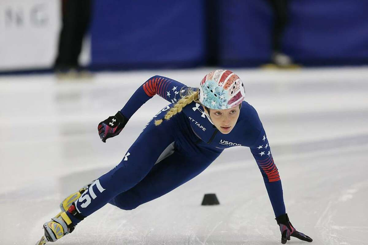 Kristen Santos of Fairfield competes for the United States in a recent World Cup speedskating event.