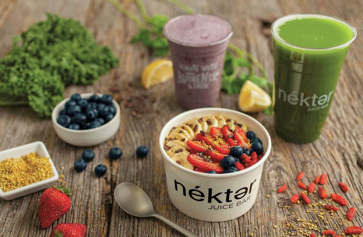The menu at Nékter Juice Bar includes smoothies and acai bowls in addition to fresh juices. The chain opened in California in 2010.