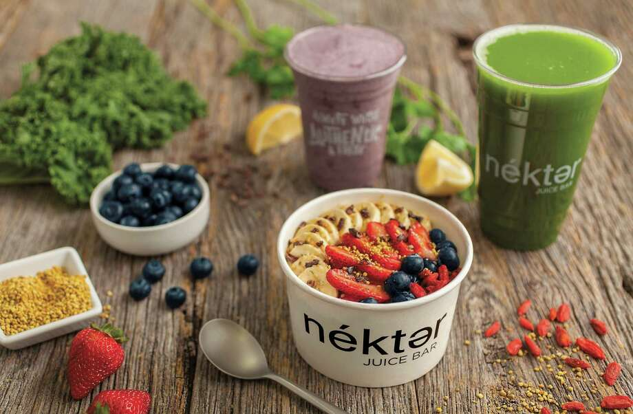 The menu at Nékter Juice Bar includes smoothies and acai bowls in addition to fresh juices. The chain opened in California in 2010. Photo: Nékter Juice Bar