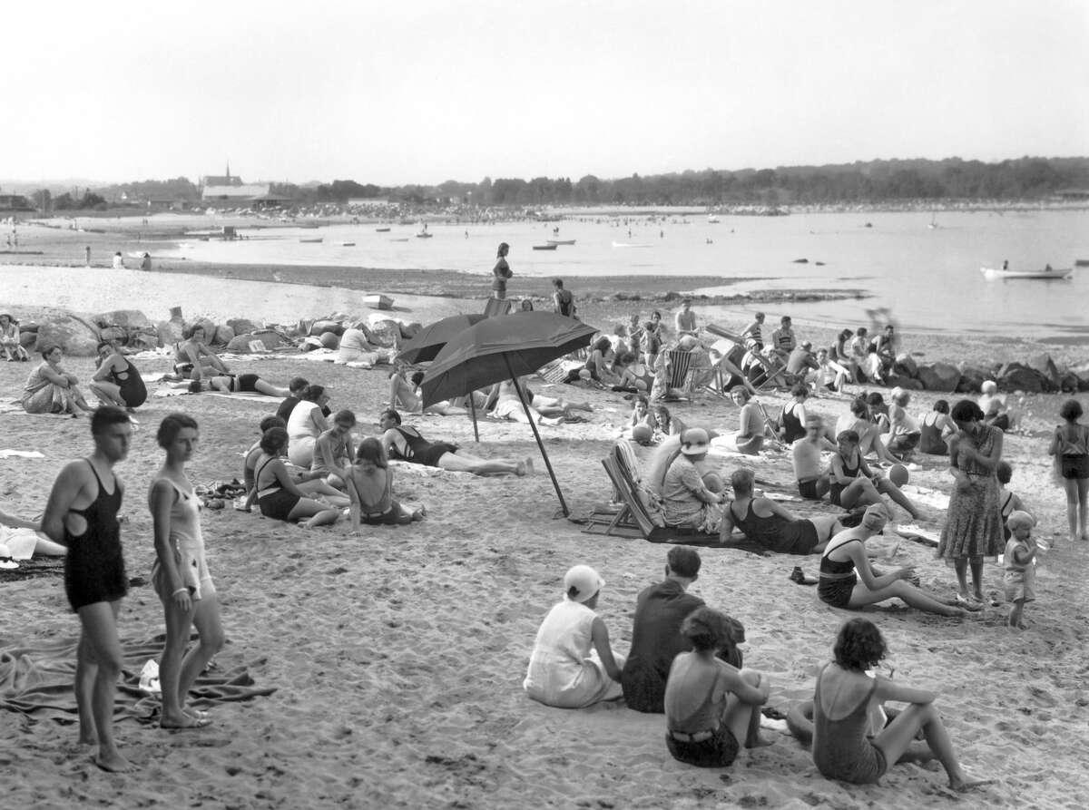 The beach scene at the Shorewood Beach Club in Stamford, circa 1930.