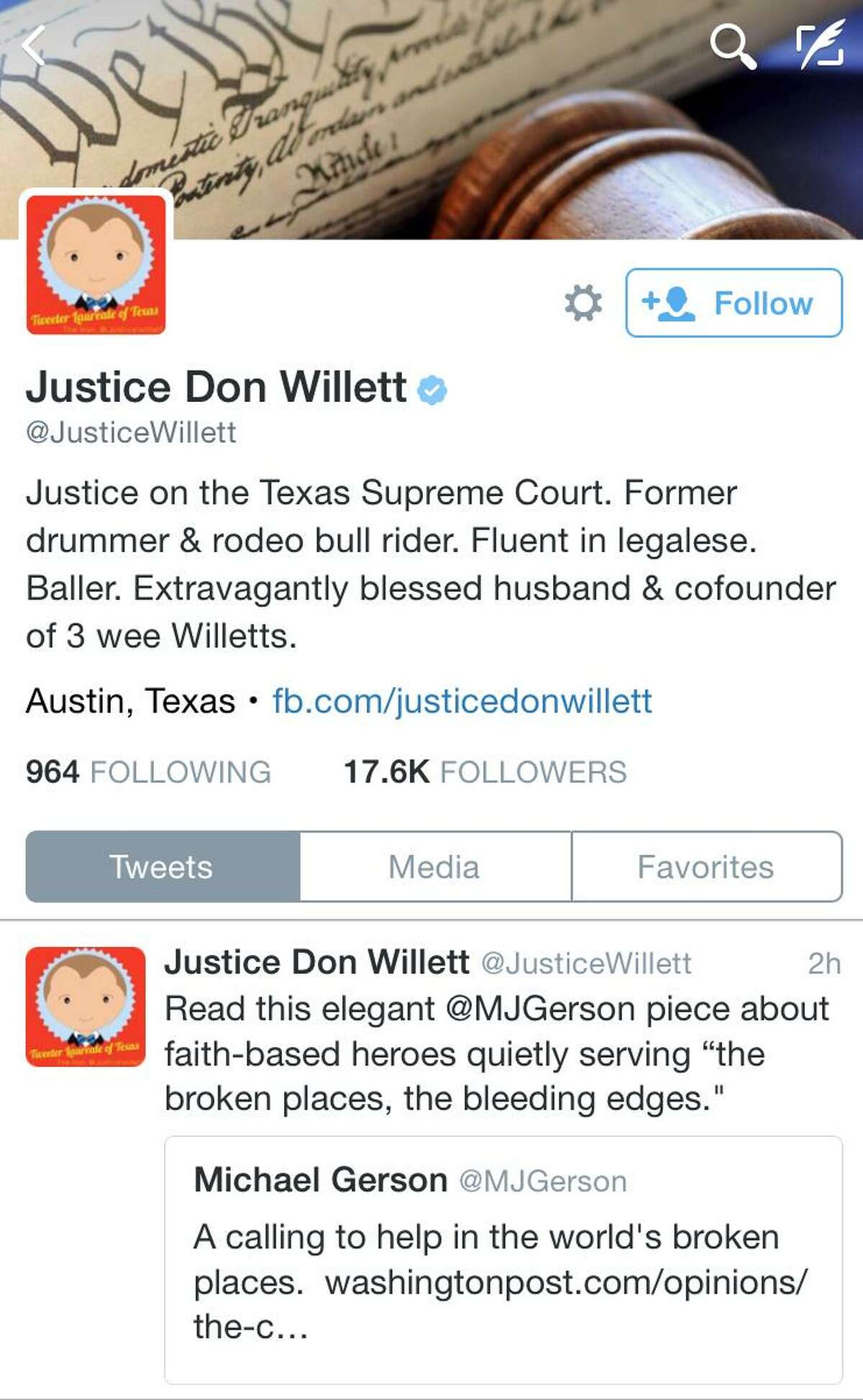 """Texas has become the first state to name an official """"Tweeter Laureate,"""" and its recipient is not a star quarterback, or pop star but a state Supreme Court justice. The Texas House recognized Republican Willett as a """"lively and engaging presence on Twitter."""""""