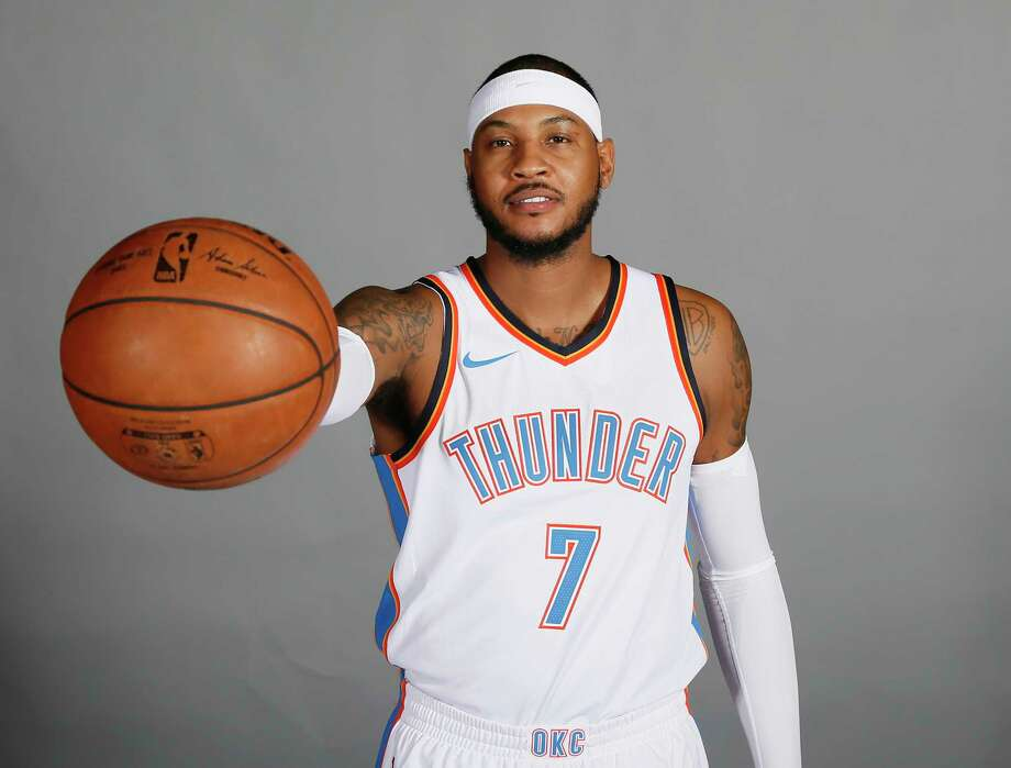 Oklahoma City Thunder forward Carmelo Anthony is pictured during an NBA basketball media day in Oklahoma City, Monday, Sept. 25, 2017. (AP Photo/Sue Ogrocki) Photo: Sue Ogrocki, Associated Press / AP2017