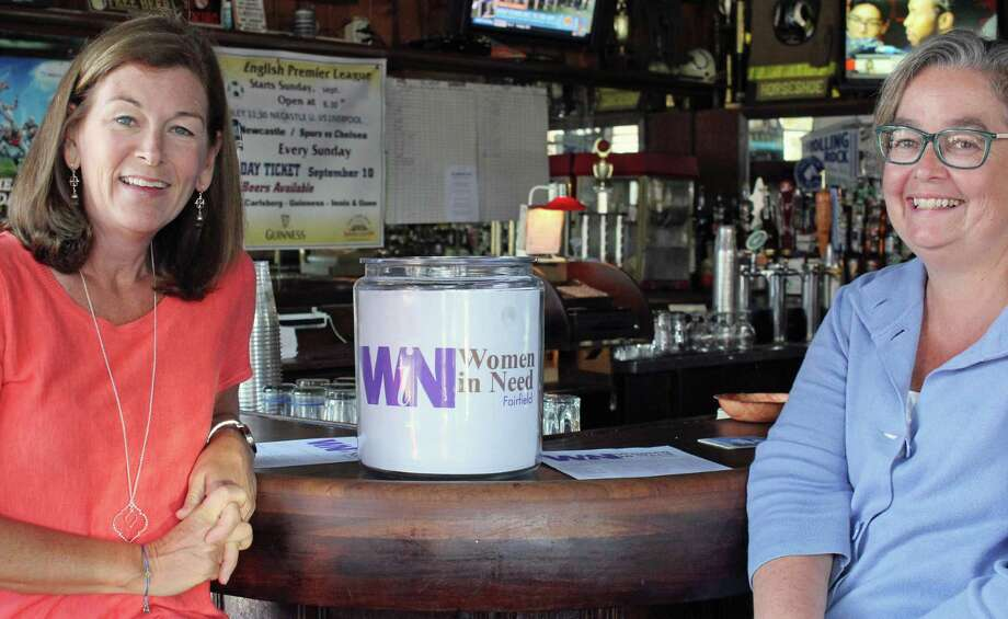 """Marcy Halley, left, and Annie Clyne, right, are the brains behind """"Women in Need,"""" a grassroots fundraising organization that will mark its 10th year in October. Fairfield,CT. 9/26/17 Photo: Genevieve Reilly / Hearst Connecticut Media / Fairfield Citizen"""