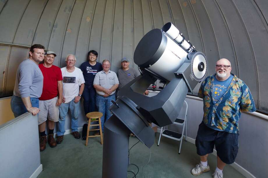 The Westport Astronomical Society team with their new 16-inch Meade LX200 telescope. Photo: Contributed / New Canaan News