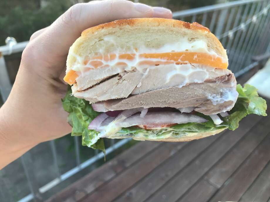 Hot roasted turkey sandwich ($7.99) at Arguello Super Market in S.F. Photo: Esther Mobley