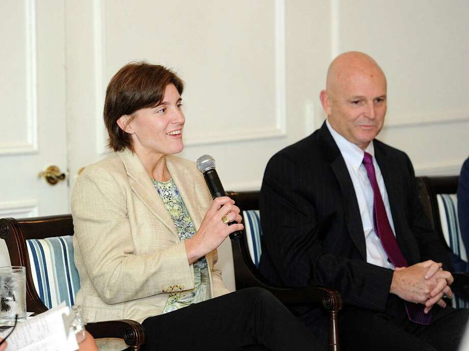 """At left, Katie DeLuca, the director of Planning & Zoning for the Town of Greenwich, speaks during a panel discussion regarding """"The Real State of Real Estate in Riverside and Old Greenwich""""  hosted by Greenwich-based financial advisor company Fieldpoint Private at the Riverside Yacht Club, Greenwich, Conn., Wednesday, Sept. 27, 2017. Photo: Bob Luckey Jr. / Hearst Connecticut Media / Greenwich Time"""
