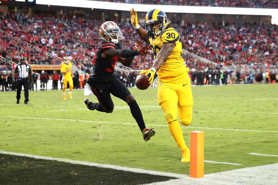 SANTA CLARA, CA - SEPTEMBER 21:  Todd Gurley #30 of the Los Angeles Rams rushes for a touchdown against the San Francisco 49ers during their NFL game at Levi's Stadium on September 21, 2017 in Santa Clara, California.  (Photo by Ezra Shaw/Getty Images) Photo: Ezra Shaw/Getty Images