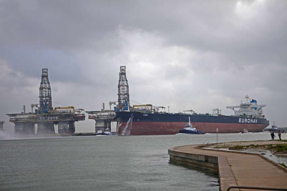 The Very Large Crude Carrier Anne, owned by Euronav of Belgium, docked at Oxy Midstream's Ingleside Energy Center in Corpus Christi in late May to help the port prepare to host large crude carriers as it builds its crude export business. Photo: Photo Courtesy Port Of Corpus Christi