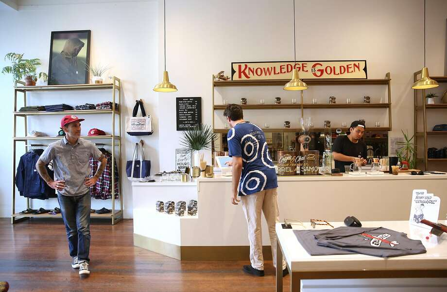 Benny Gold (left) in his store on Friday, September 1. Photo: Liz Hafalia, The Chronicle