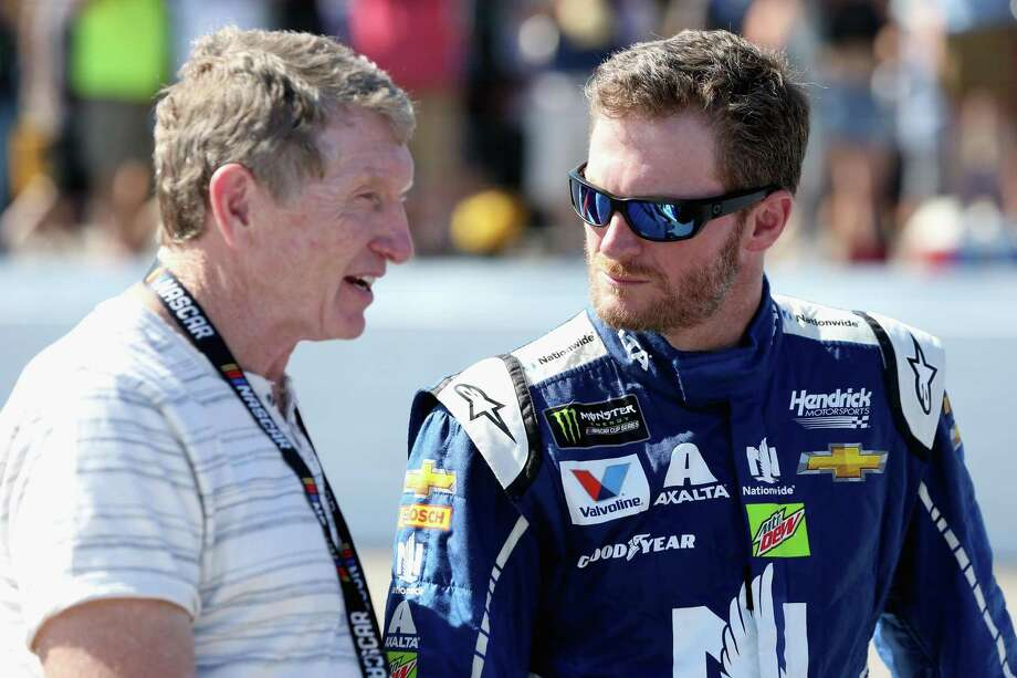 """A half-hour after President Trump issued a tweet lauding NASCAR for not protesting ala the NFL, NASCAR's most popular driver, Dale Earnhardt Jr., right, responded by tweeting, """"All Americans R granted rights 2 peaceful protests."""" Here, he talks with NASCAR Hall of Famer Bill Elliott Sunday. Photo: Sean Gardner /Getty Images / 2017 Getty Images"""