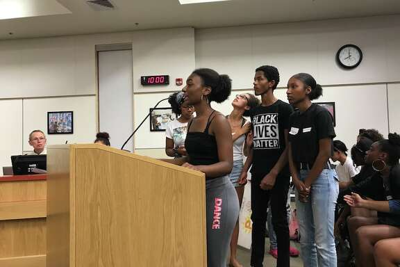At the Berkeley School Board meeting Sept. 27, junior Laelah Jackson and other students talk about the distress caused by an offensive Instagram account and call for consequences for its creators.