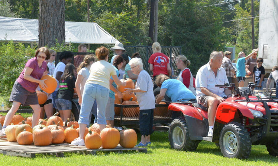 The pumpkins arrive in a tractor-trailer and are unloaded by Lake Houston Methodist Church members and friends. Photo: Courtesy