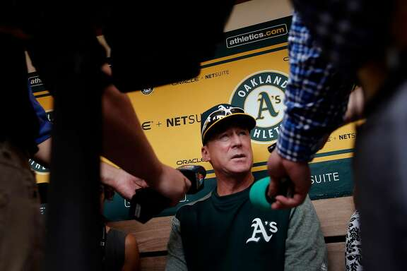 A's manager Bob Melvin talks with the media before the start of the game, as the Oakland Athletics prepare to take on the Los Angeles Angels at the Oakland Coliseum in Oakland, Ca. on Mon. September 4, 2017.