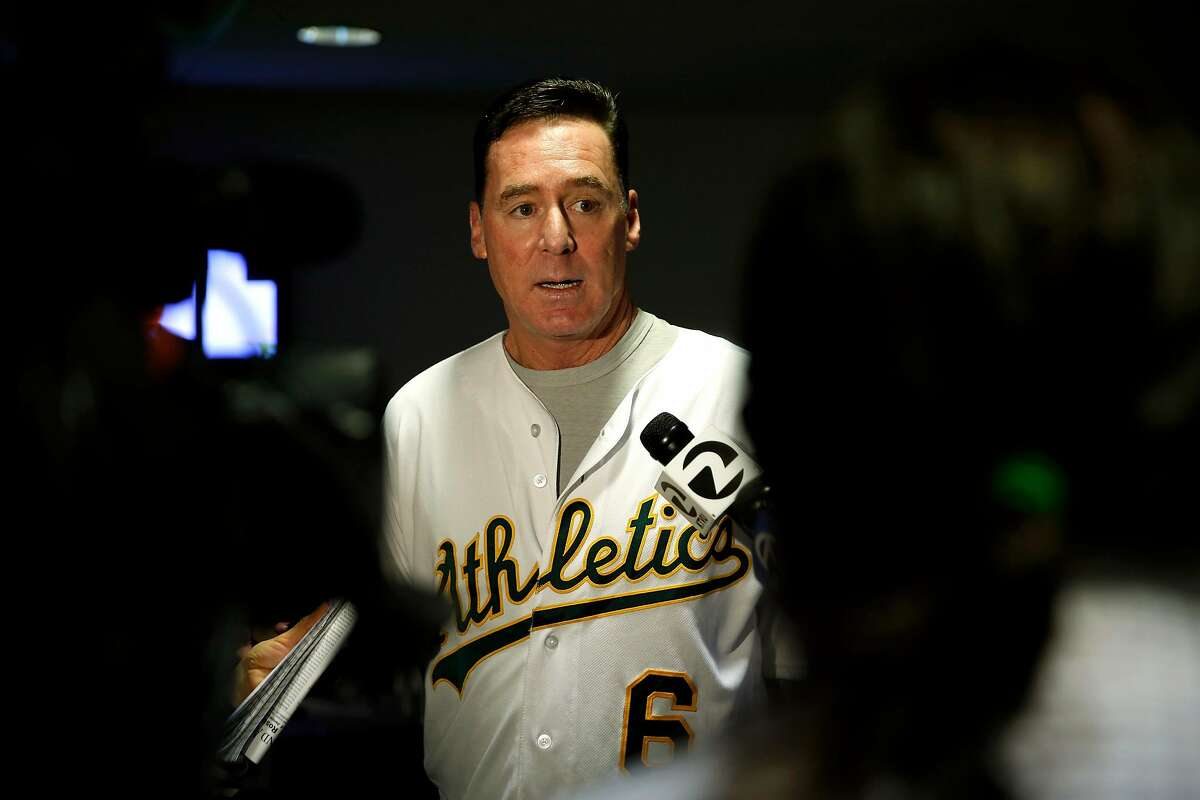 Manager Bob Melvin speaks to reporters before A's Fanfest at the Coliseum in Oakland, California, on Sunday, Jan. 24, 2016.