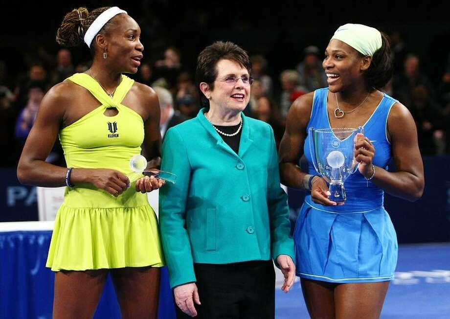 Venus Williams, Billie Jean King and Serena Williams pose for photographs after a 2009 match in New York Citythe Final during the BNP Paribas Showdown for the Billie Jean Cup at Madison Square Garden on March 2, 2009 in New York City. (Photo by Chris McGrath/Getty Images) Photo: Chris McGrath / Getty Images / 2009 Getty Images