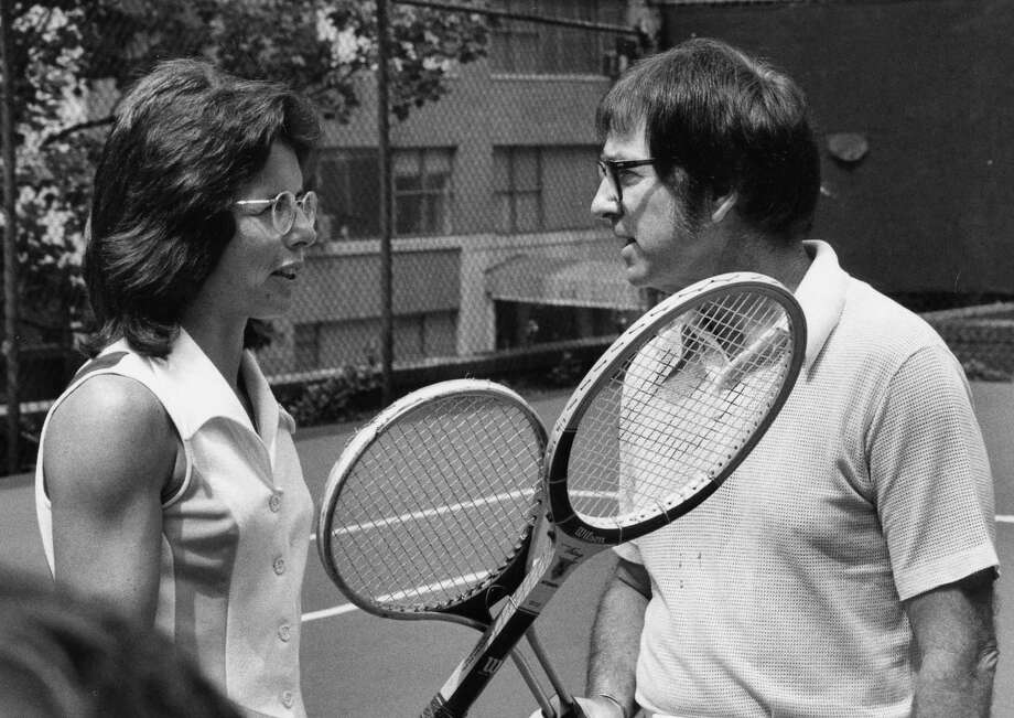 "ABC SPORTS - PRESS EVENT FOR ""BATTLE OF THE SEXES"" TENNIS - 9/20/73 A crowd of 30,472 and an estimated TV audience of 40 million (the largest ever live audience for a tennis match in primetime) witnessed Billie Jean King, 29, defeat Bobby Riggs, 55, in three straight sets, 6-4, 6-3, 6-3, in the ""Battle of the Sexes"".  (Photo by Ann Limongello/ABC via Getty Images) Photo: Ann Limongello / ABC Via Getty Images / ©American Broadcasting Companies, Inc.  All rights reserved."