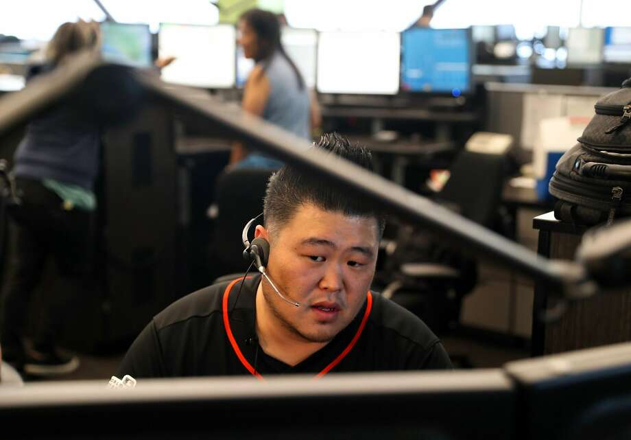 Dispatcher Chong Hong works at 911 call center in San Francisco, Calif., on Tuesday, June 20, 2017. Photo: Scott Strazzante, The Chronicle