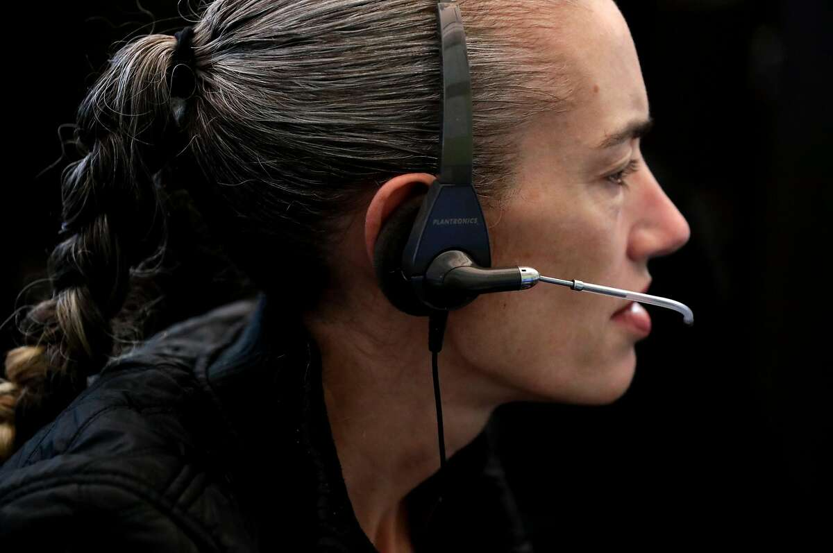 Dispatcher Joan Vallarino at the San Francisco 911 Emergency Call Center on Mon. July 31, 2017 in San Francisco, Ca.