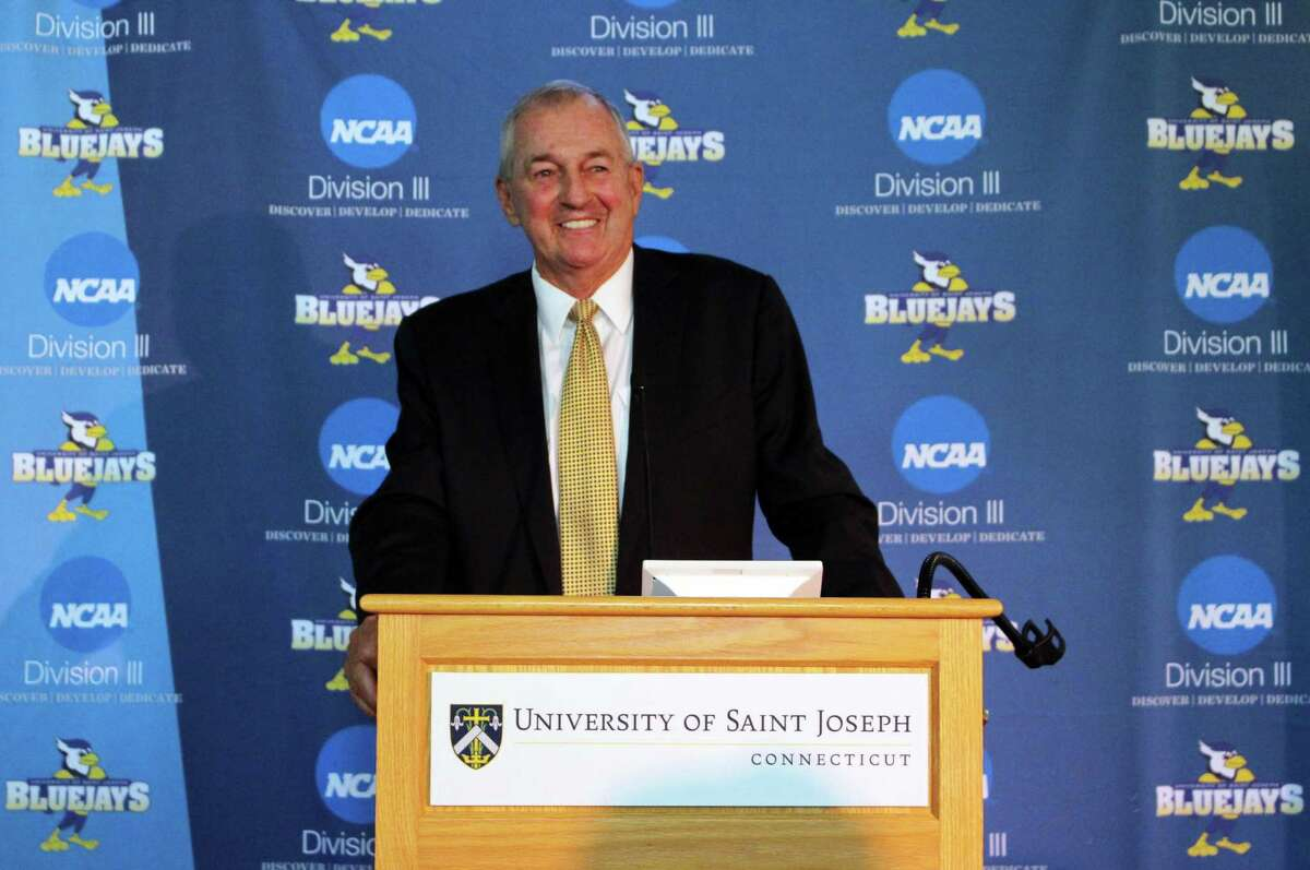 Hall of Fame basketball coach Jim Calhoun is introduced at the University of Saint Joseph in West Hartford on Thursday.