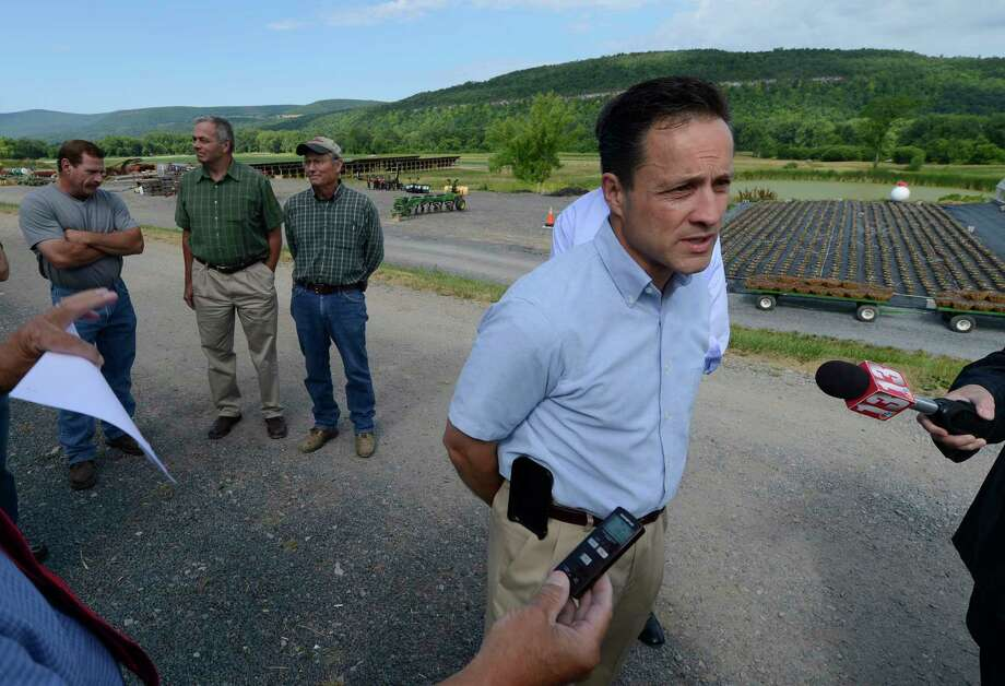 Assemblyman Pete Lopez discusses the proposed pipeline in Schoharie County on July 10, 2012, at a press conference at the Schoharie Valley Farm in Schoharie, N.Y. (Skip Dickstein / Times Union archive) Photo: SKIP DICKSTEIN / 00018400A