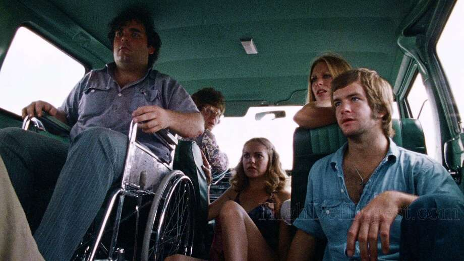 """From left: Paul A. Partain, Allen Danziger, Teri McMinn, Marilyn Burns and William Vail in Tobe Hoopers 1974 horror classic """"The Texas Chain Saw Massacre."""" Photo: Bryanston Pictures, 1974"""
