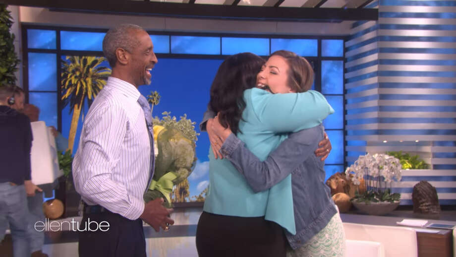 "A screenshot of footage from ""The Ellen Show"" on Sept. 27, 2017. KHOU-TV reporter Brandi Smith spoke with Ellen DeGeneres about her rescue of a truck driver during Hurricane Harvey. DeGeneres later surprised Smith by inviting the very truck driver she helped save. Photo: File/The Ellen Show"