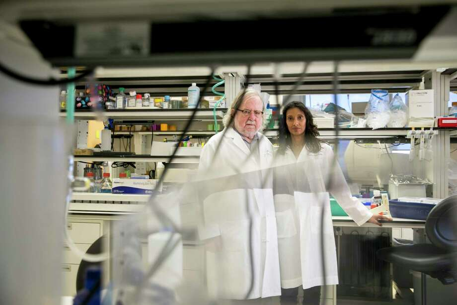 Jim Allison and Padmanee Sharma are longtime research collaborators who married in 2014. At the MD Anderson Cancer Center in Houston, the two are trying to push the frontier of immunotherapy. Photo: Ilana Panich-Linsman/for The Washington Post. / Ilana Panich-Linsman