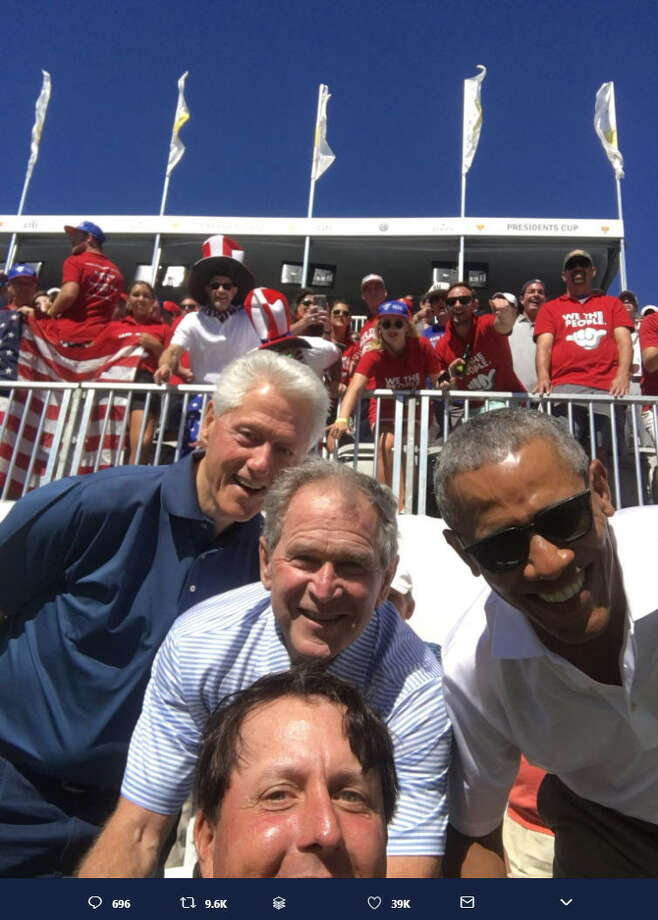 Golfer Phil Mickelson took the ultimate selfie with three U.S. presidents at the Liberty National Golf Club in Jersey City on Sept. 28, 2017.Image source: Twitter Photo: Tim Mickelson Via Twitter