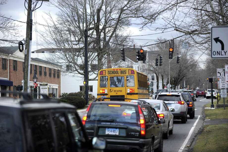Traffic stops at the light on Main Street and Prospect in Ridgefield, Friday, January 27, 2017. Photo: Carol Kaliff / Hearst Connecticut Media / The News-Times