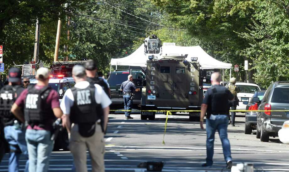 The scene of a police response to shootings on Elm St. in New Haven on September 23, 2017. Arnold Gold / Hearst Connecticut Media Photo: Arnold Gold / Hearst Connecticut Media / New Haven Register