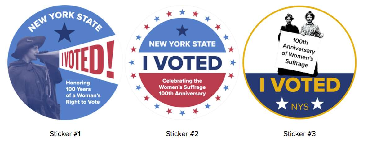Voters in a poll conducted by the state Women's Suffrage Commission have selected Sticker No. 1, featuring