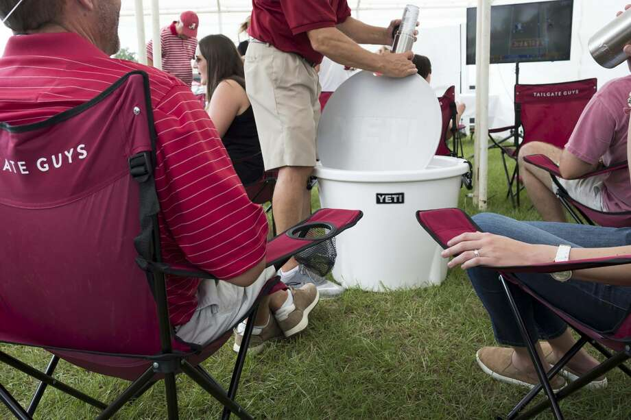 FILE-- In an undated handout photo, a Yeti cooler during an event. The National Rifle Association claimed that Yeti was terminating the discount the company offered to the NRA as part of an NRA boycott. Photo: CLAIRE MIDDLEBROOKS/NYT