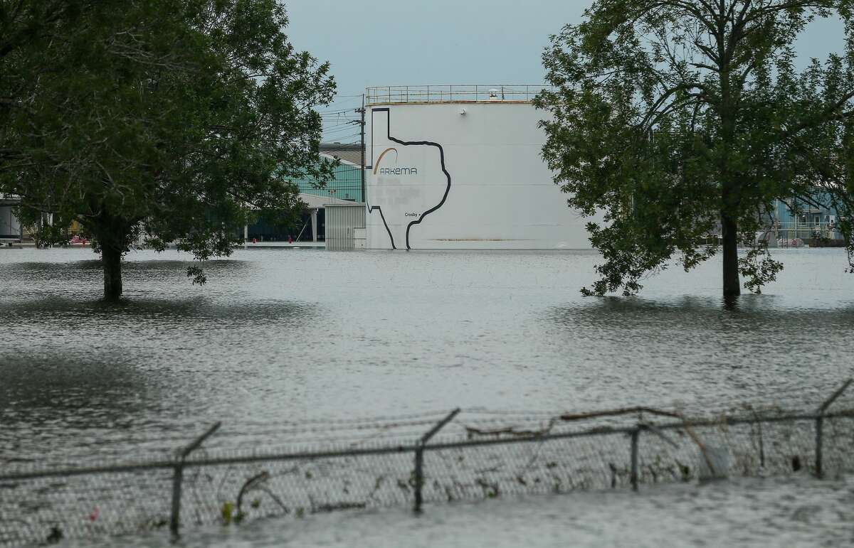 The Arkema chemical plant is flooded from Hurricane Harvey Wednesday, Aug. 30, 2017, in Crosby, Texas. Floodwaters from Harvey have knocked out power and generators that keep volatile organic peroxides stored at the facility cool. Employees and about 300 homes within a mile and half radius of the plant were evacuated Tuesday. ( Godofredo A. Vasquez / Houston Chronicle )