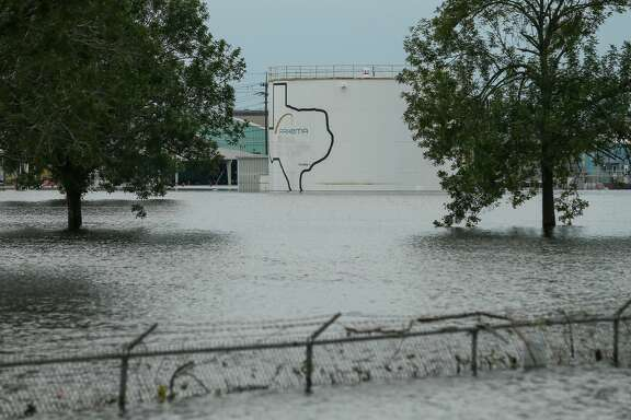 The Arkema  chemical plant is flooded from Tropical Storm Harvey Wednesday, Aug. 30, 2017, in Crosby, Texas. Floodwaters from Harvey have knocked out power and generators that keep volatile organic peroxides stored at the facility cool. Employees and about 300 homes within a mile and half radius of the plant were evacuated Tuesday. ( Godofredo A. Vasquez / Houston Chronicle )