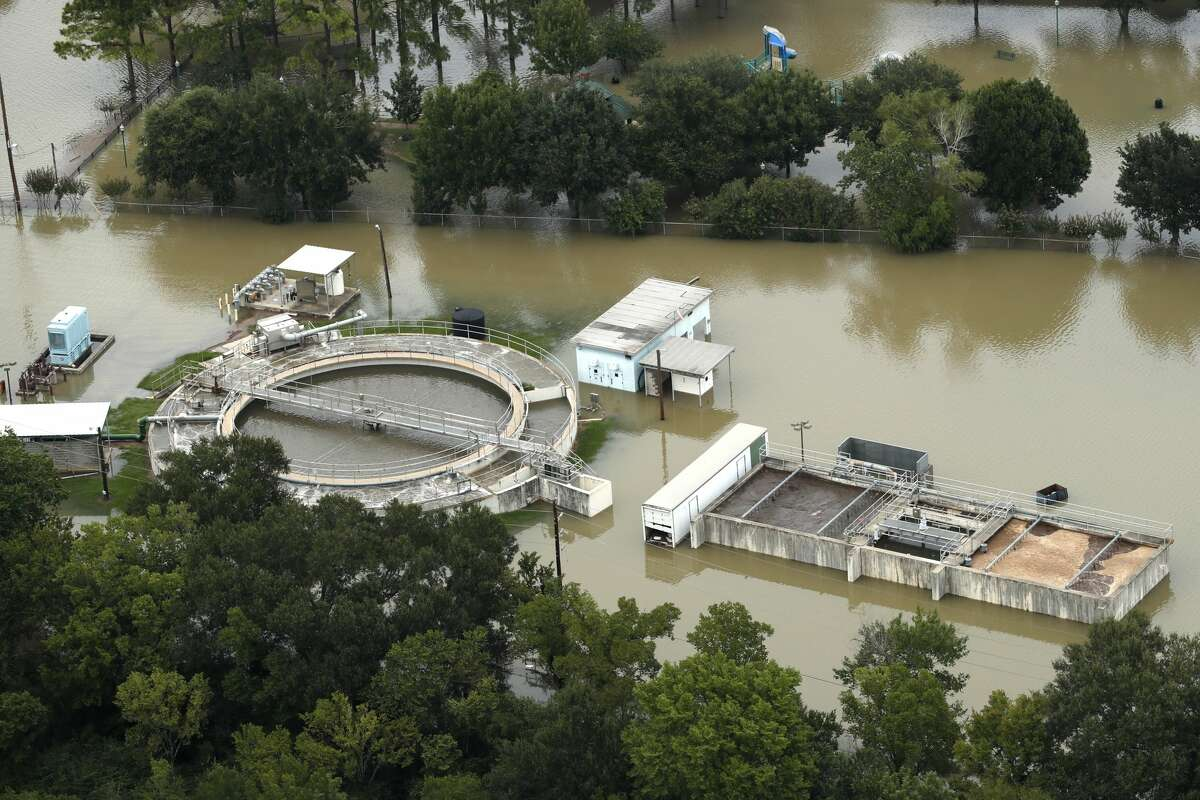 Floodwaters from the Addicks Reservoir inundate a water treatment plant off N. Eldridge Parkway in the aftermath of Tropical Storm Harvey on Wednesday, Aug. 30, 2017, in Houston. ( Brett Coomer / Houston Chronicle )