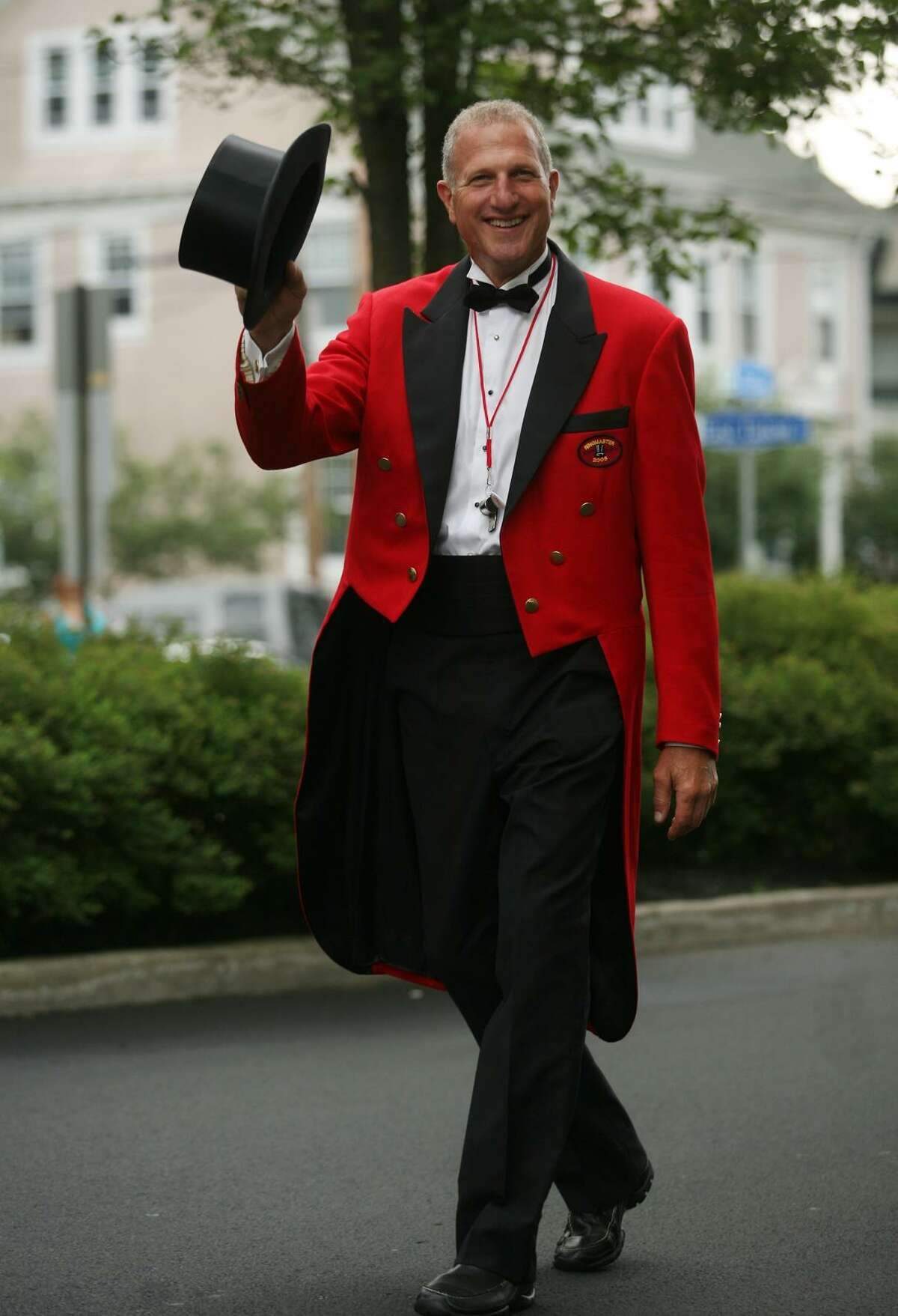 Shelton Mayor and 2008 Barnum Festival Ringmaster Mark Lauretti dons his red jacket again to march in the 2011 parade.
