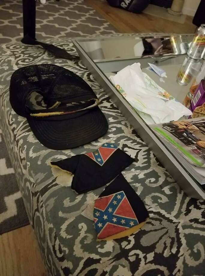 Remnants of a hat that was destroyed by an employee with a knife at Molten Java Thursday. Photo: / Contributed